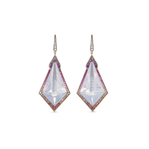 Noor Fares Samsara Sapphire Moon Quartz Earrings Front