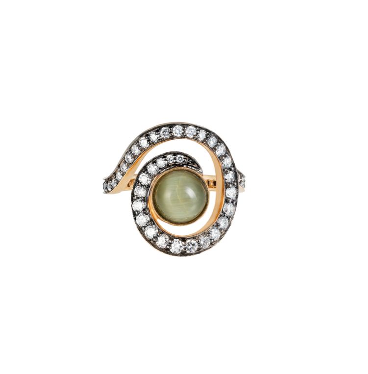 Cats Eye Planet Spiral Pinkie Ring