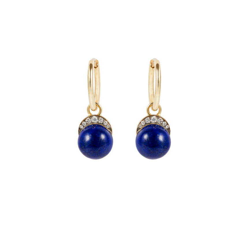 Lapis Mala Drop Earrings