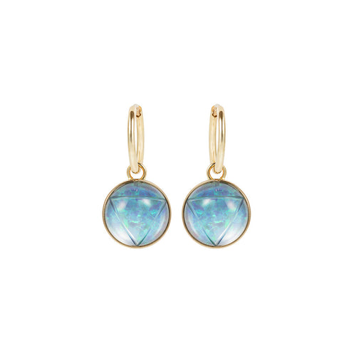 Shakti/Shiva Black Opal Carved Drop Earrings