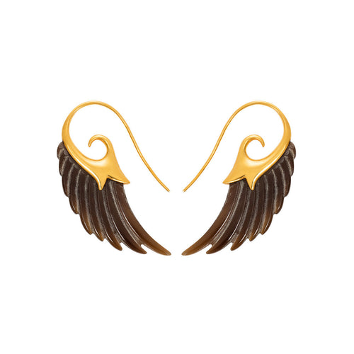Dark Horn Wing Earrings