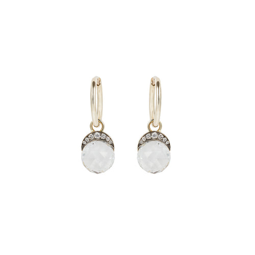 Faceted White Topaz Mala Drop Earrings