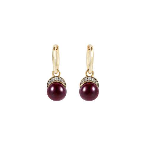 Garnet Mala Drop Earrings
