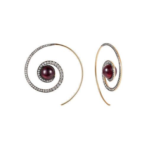 Garnet Spiral Moon Earrings
