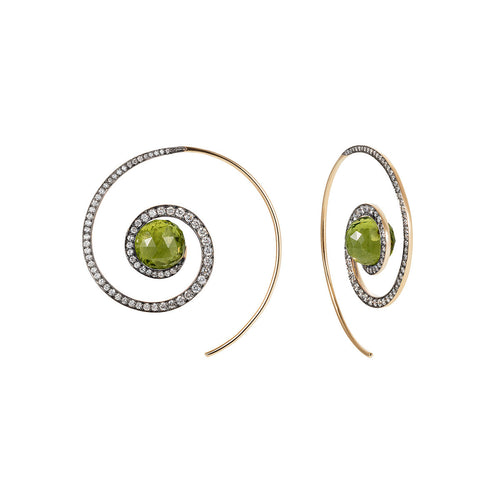 Faceted Peridot Spiral Moon Earrings