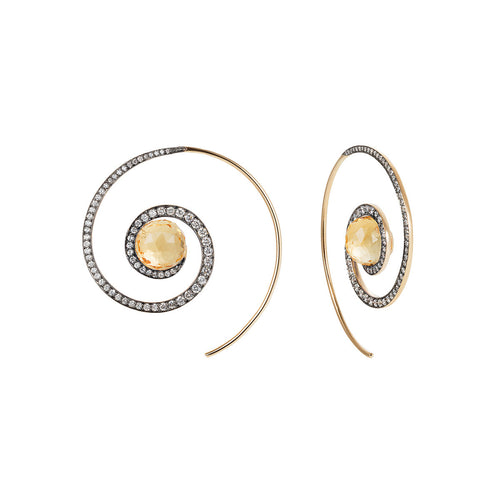 Faceted Citrine Spiral Moon Earrings