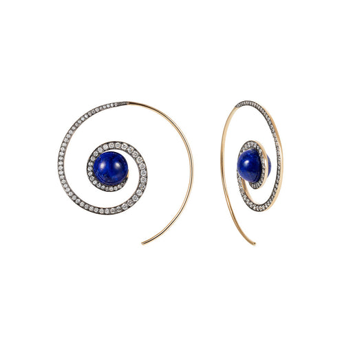 Lapis Lazuli Spiral Moon Earrings