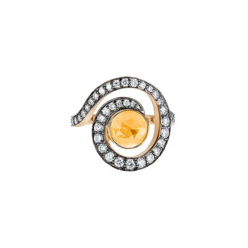 Faceted Citrine Planet Spiral Ring