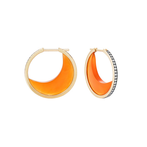 Carnelian Chandra Crescent Earrings