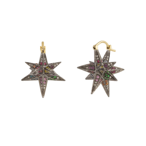 "Rainbow Merkaba Dormeuse ""3D"" Earrings"