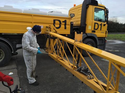 Runway deicer being protected