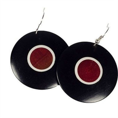 African Blackwood & Pink Ivory Wood Disk Earrings Handmade and Fair Trade