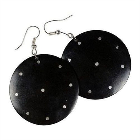 African Blackwood & Aluminum Inlaid Earrings Handmade and Fair Trade