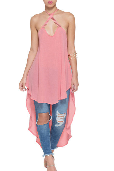 Sleeveless Backless  Pink Chiffon Tank Top