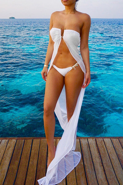 See-Through White Polyester Cover-Ups(Without Briefs)