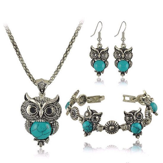 Women Jewelry Sets Vintage Charms Turquoise Earrings Bracelet