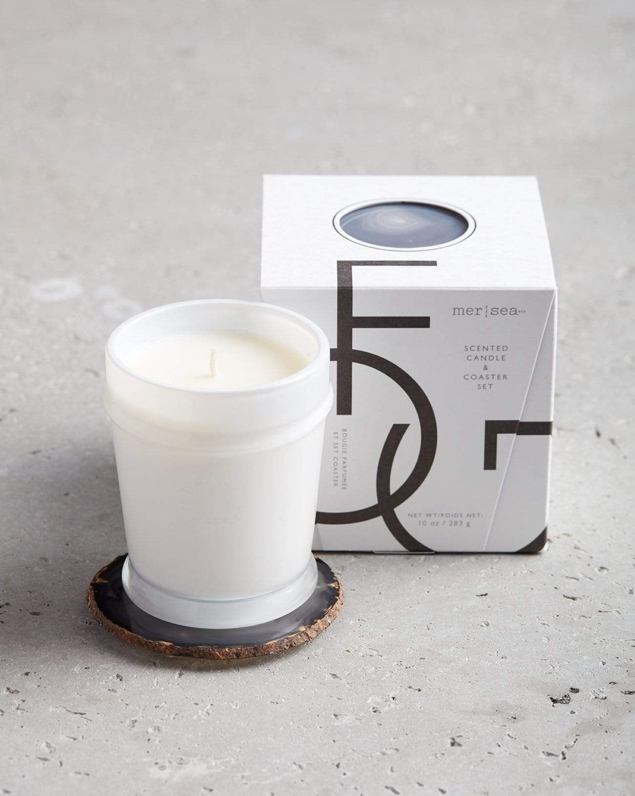 Fog Boxed Candle & Agate Coaster