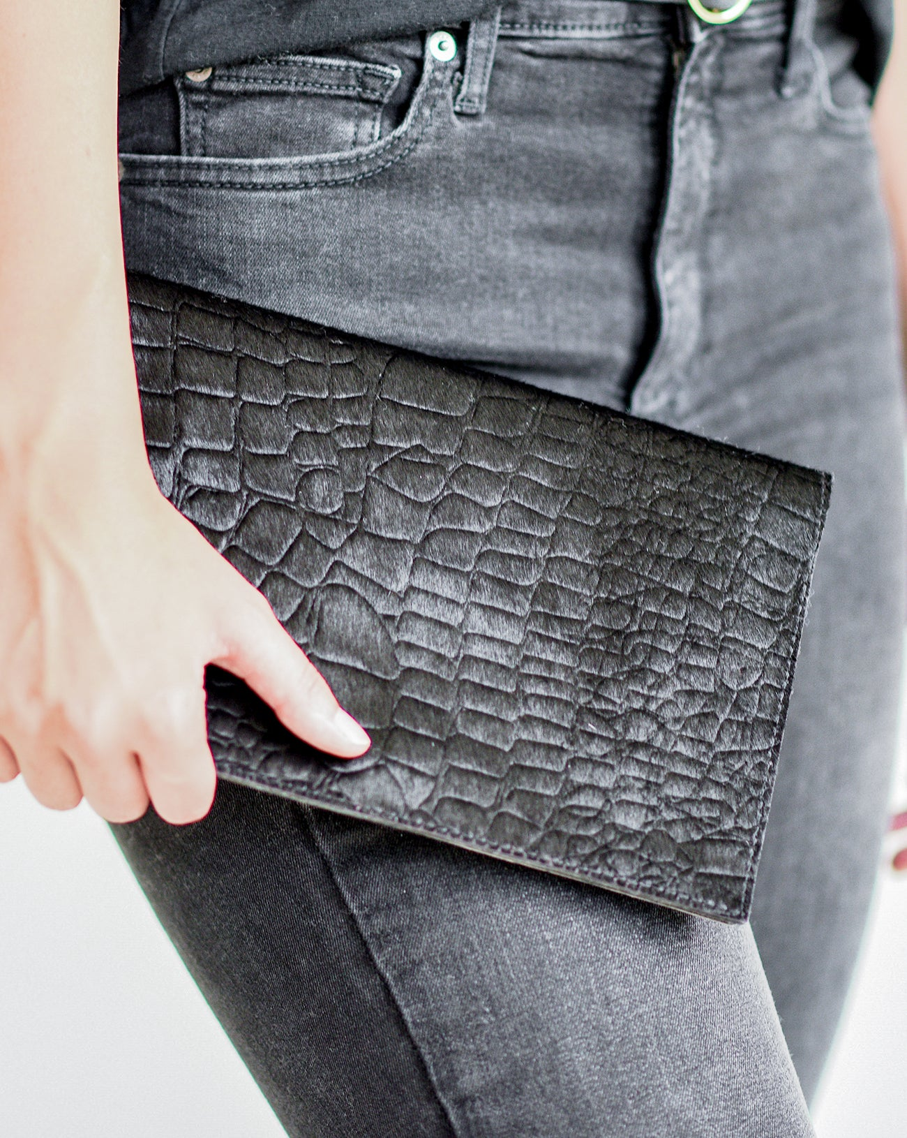 Embossed Foldover Clutch in Black