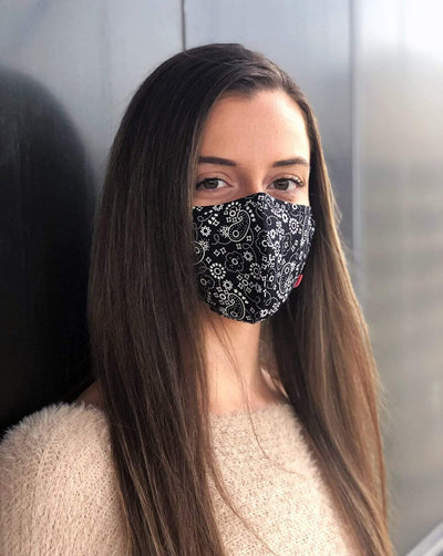 Reusable Face Masks Black Print