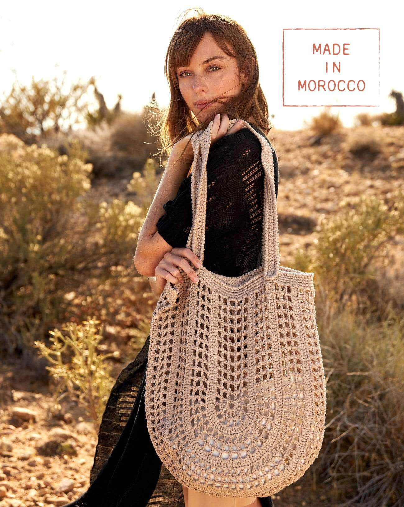 Souk Crochet Tote - Pebble