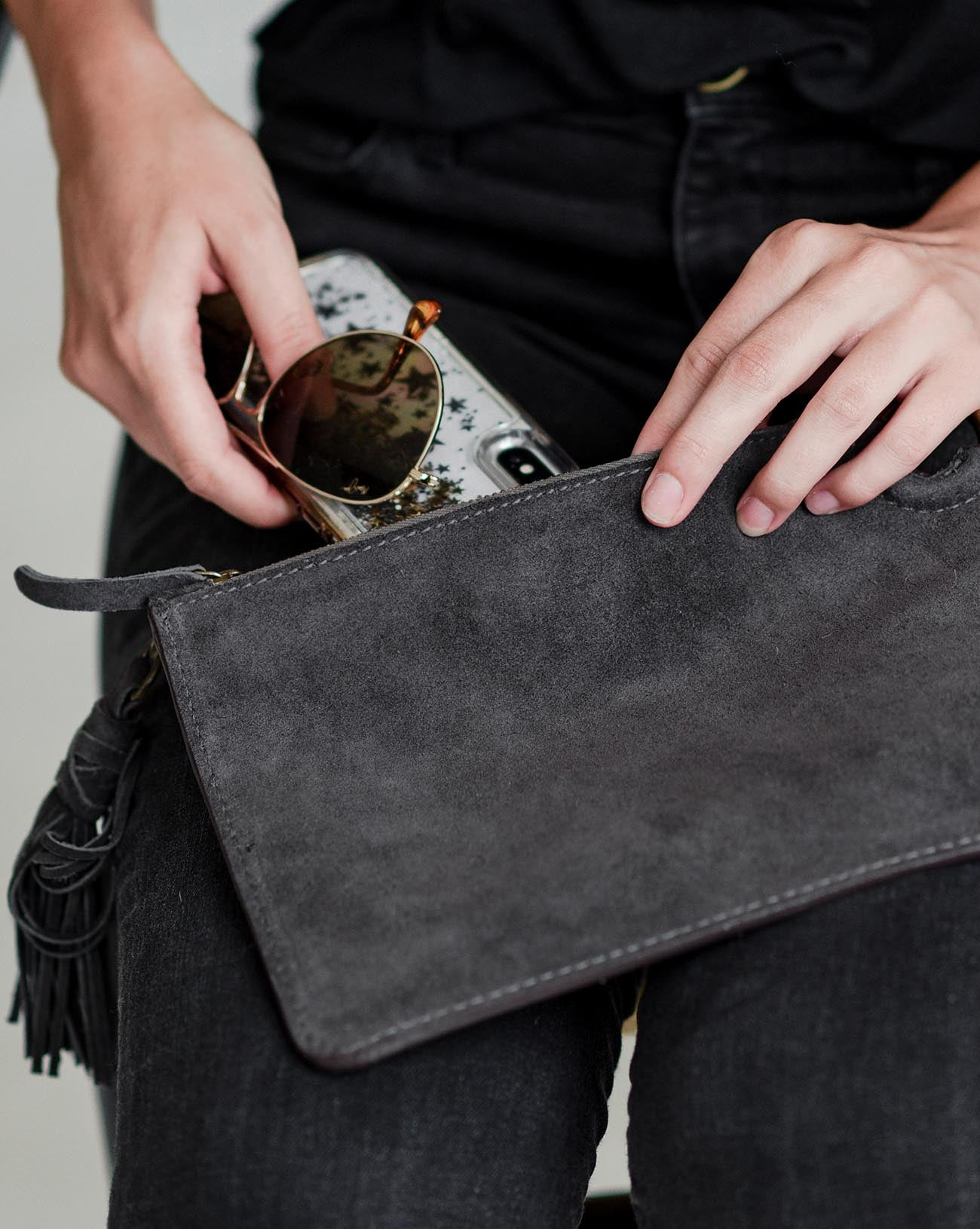 Suede Zipper Clutch in Graphite