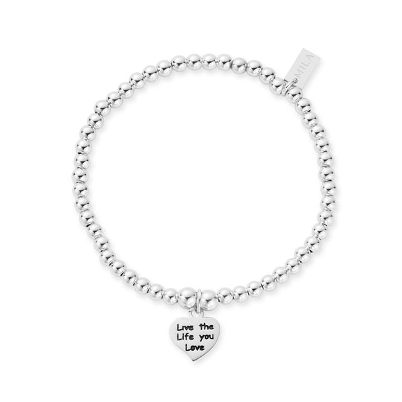 MILA Dainty Sterling Silver 'Live The Life You Love' Bracelet