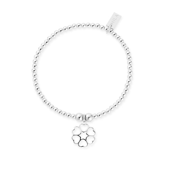 MILA Dainty Sterling Silver Circle Of Hearts Bracelet