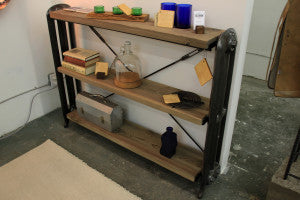 industrial salvaged wood shelves