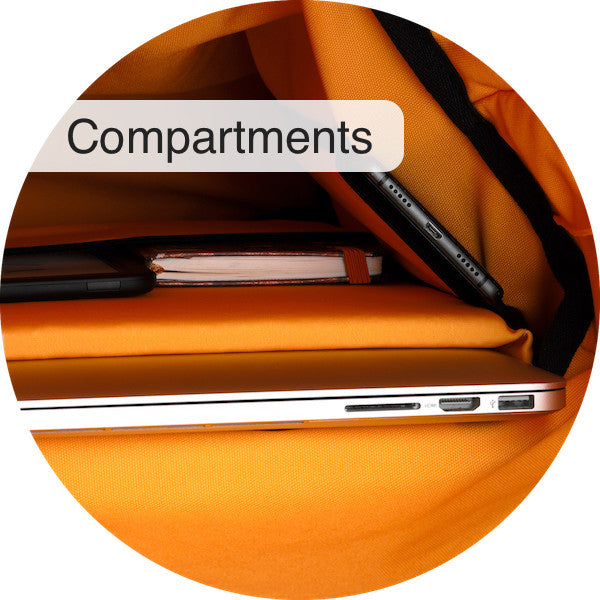 The Airpaq has various inner compartments including a padded laptop compartment, iPad compartment, small compartment at top and one main compartment