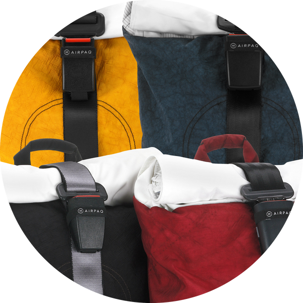 The Airpaq comes in yellow, red, blue and black
