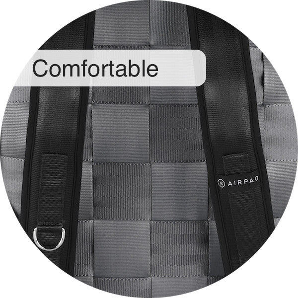 Airpaq from behind, plated seat belts and padded straps