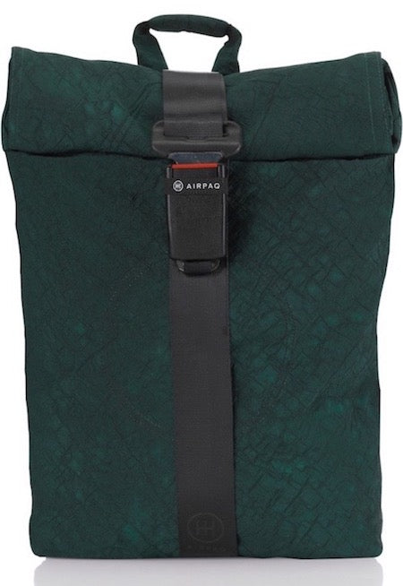 product picture of a green Airpaq from the front. Green main body with a green rolltop