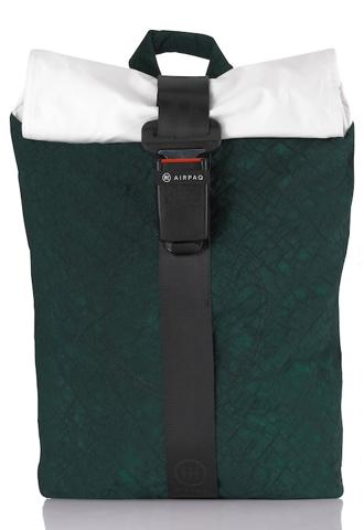 product picture of a green Airpaq from the front. Green main body with a white rolltop