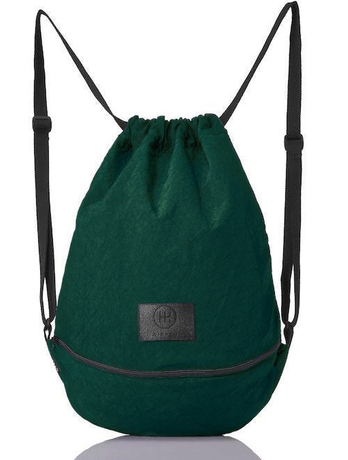 product picture of a green bag from the front. green gymbag