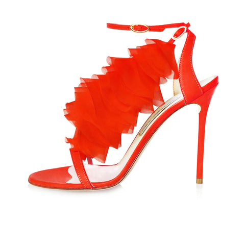 LASER CUT CHIFFON RED RUFFLE SANDAL WITH DETACHABLE RUFFLE