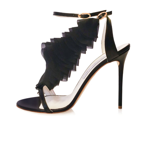LASER CUT BLACK CHIFFON RUFFLE LEATHER SANDAL WITH DETACHABLE RUFFLE