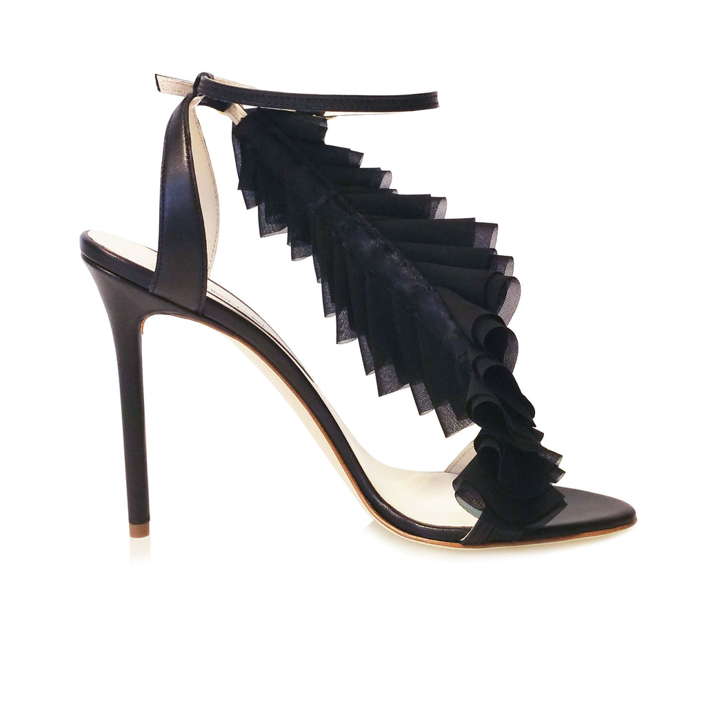 BLACK LEATHER SANDAL WITH DETACHABLE LASER CUT CHIFFON RUFFLE