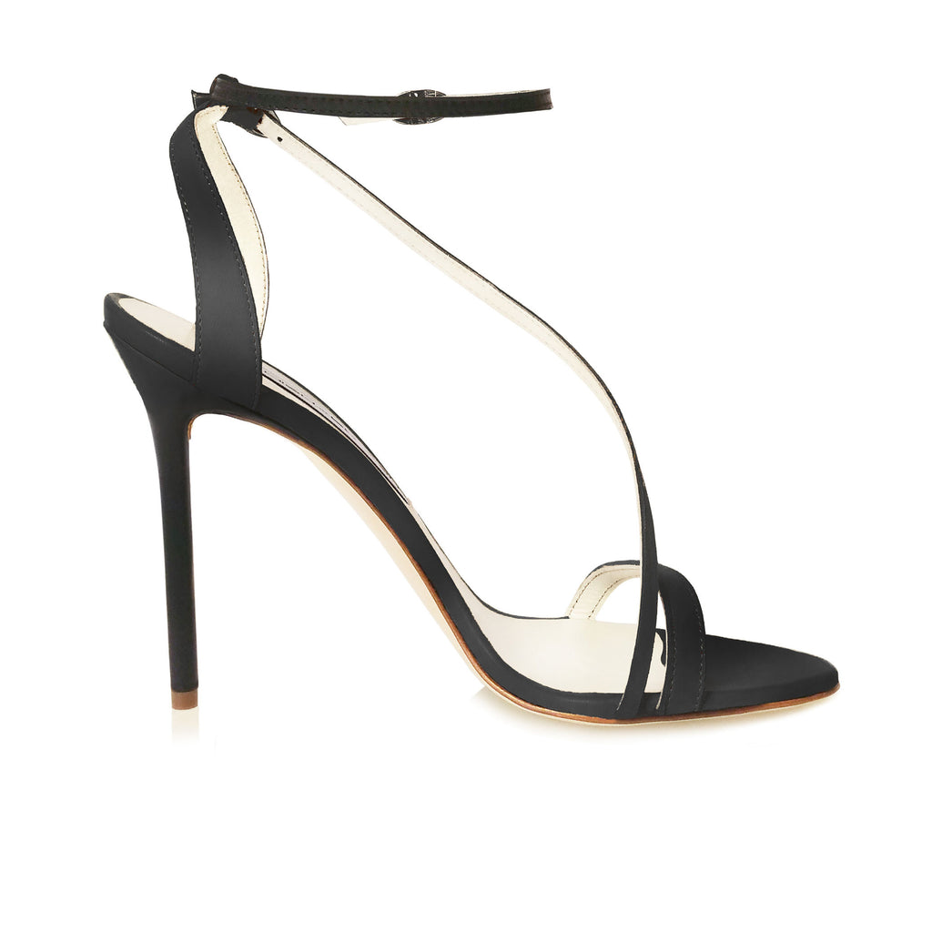 Black Leather Skinny Strap Sandal