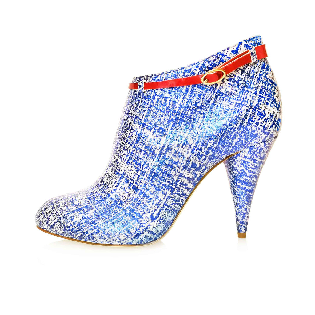 BLUE / WHITE SCRATCH EFFECT BOOTIE WITH CHERRY RED METALLIC ANKLE STRAP