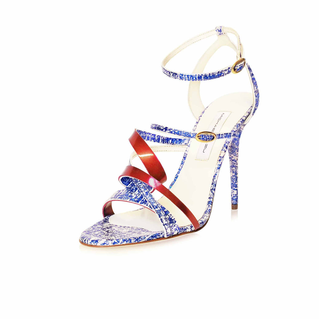 BLUE/WHITE SCRATCH EFFECT SANDAL WITH CHERRY RED METALLIC SCULPTURED TWIST DETAIL