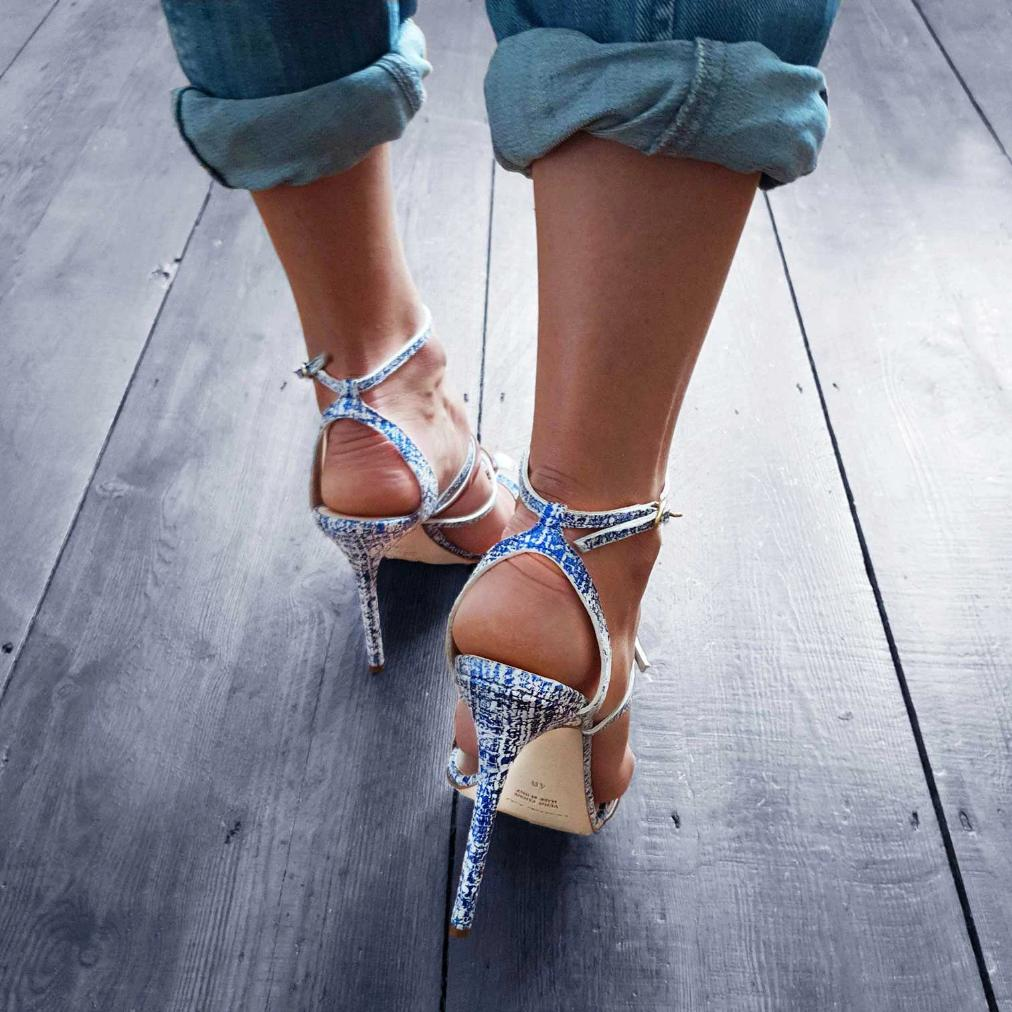 Michael Azu Blue Leather Scratched Effect Helix II Sandal