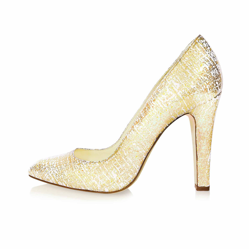 GOLD SCRATCH EFFECT LEATHER POINTED TOE PUMP