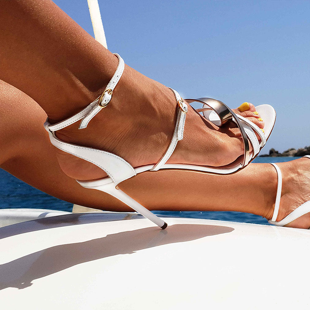 Michael Azu White Leather Helix II Sandal