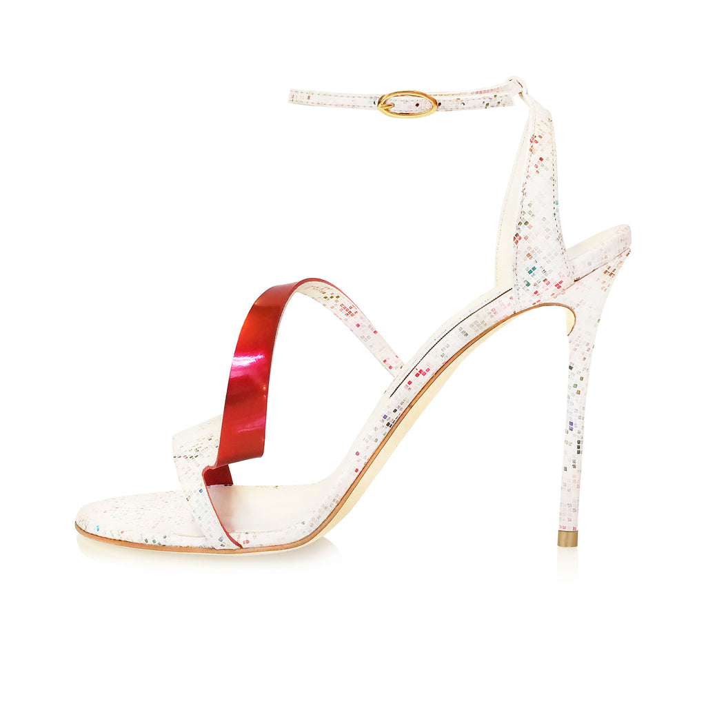 Cream Pixel Leather Helix I Sandal