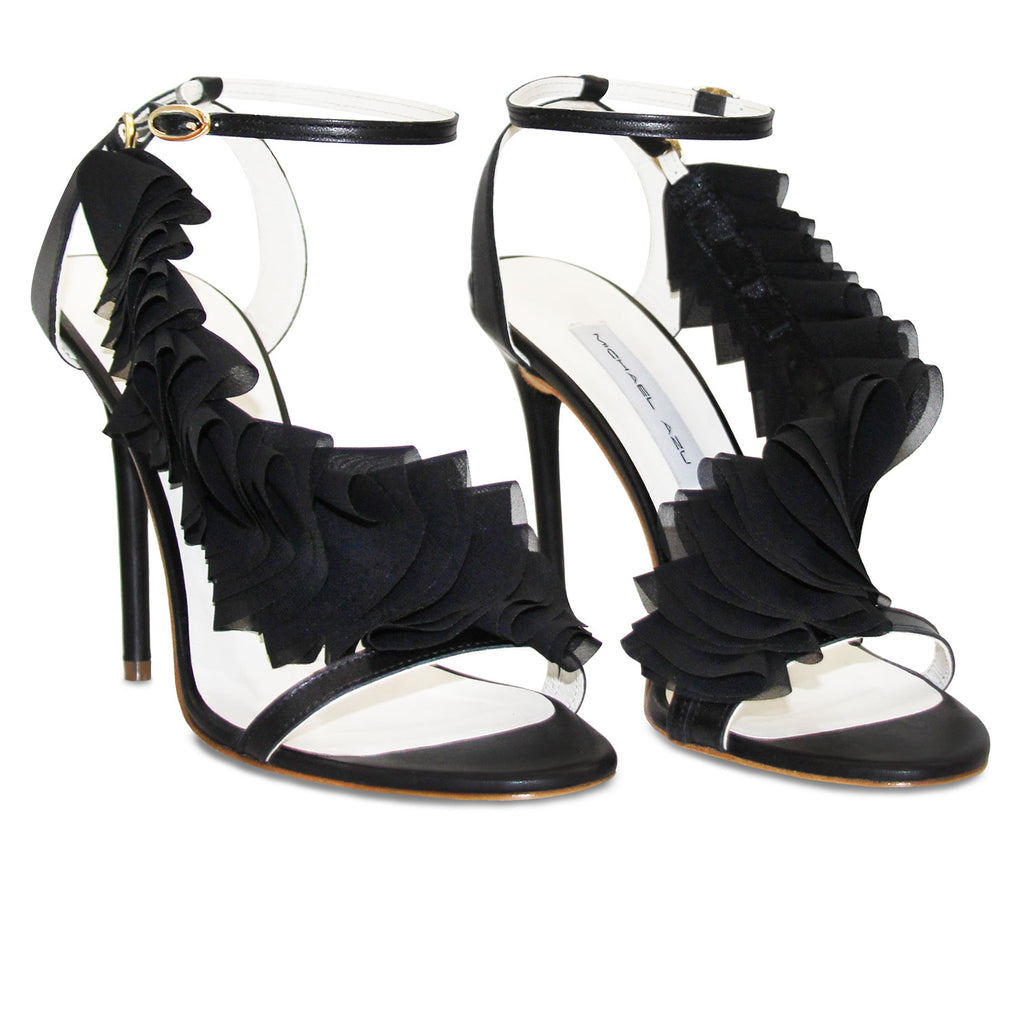 Black Leather Detachable Ruffle Sandal