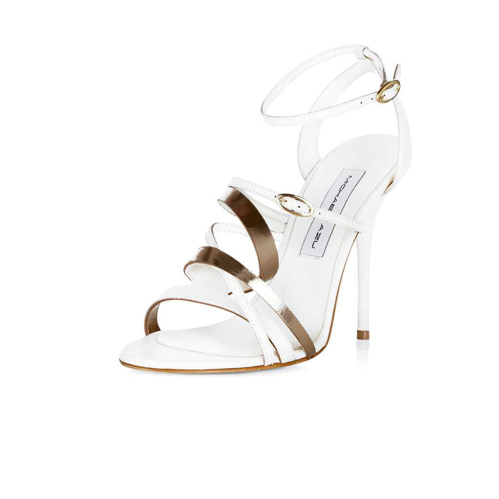 WHITE LEATHER SANDAL WITH COPPER METALLIC SCULPTURED TWIST DETAIL