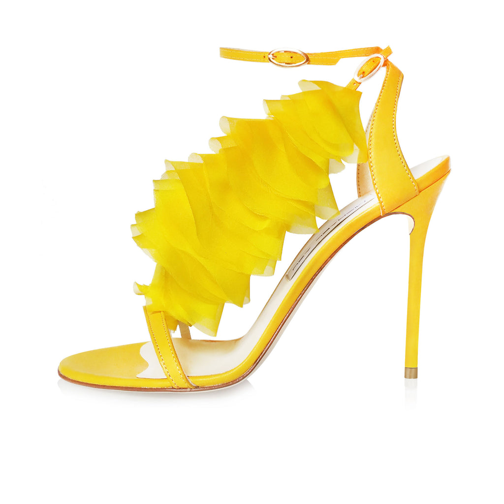 YELLOW LEATHER SANDAL WITH DETACHABLE CHIFFON RUFFLE