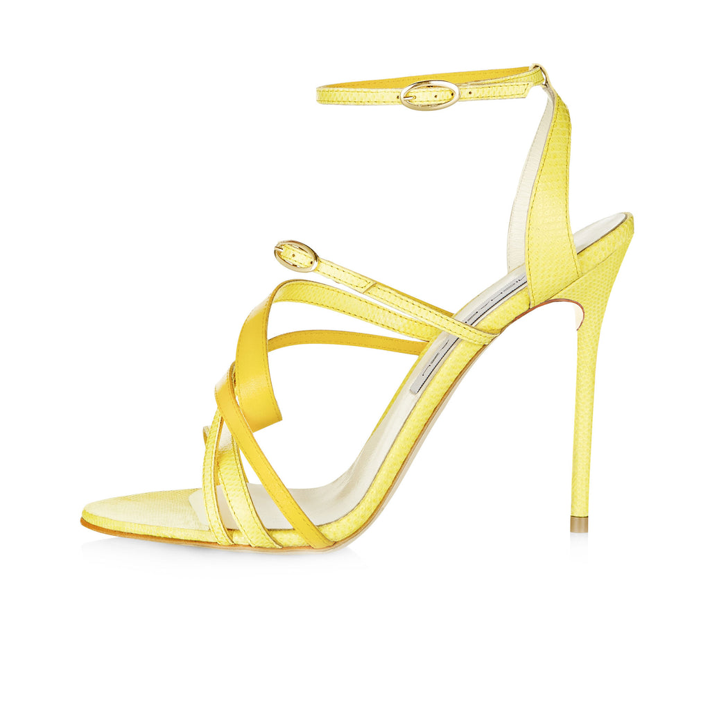 YELLOW SNAKE SKIN SANDAL WITH CALF SCULPTURED TWIST DETAIL