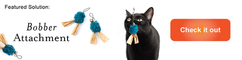 featured solution banner for the Bobber cat wand toy attachment