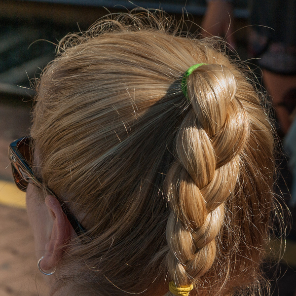 woman's braided ponytail